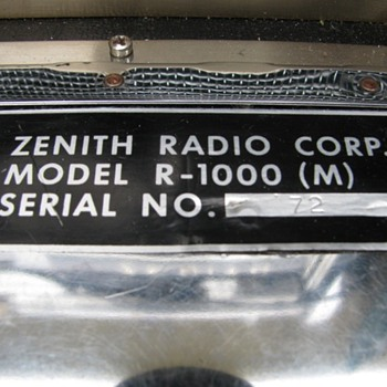 Zenith R-1000 (M) Military transoceanic
