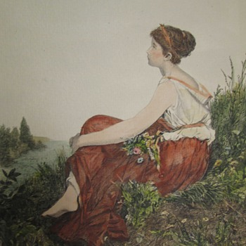 Unsigned Hand Colored Litho of Girl on River Bank