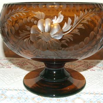 Bohemian Amber Uranium Cut Glass Bowl