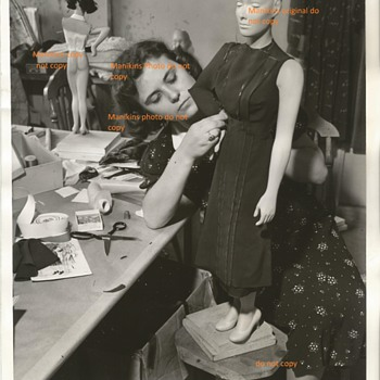 1938 Dressing a Miniature  Mannequin for Store Display Press Photo !