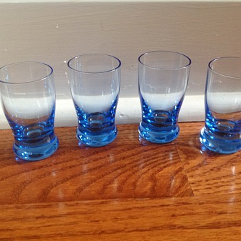 Cute blue depression hand blown shot glasses - Glassware
