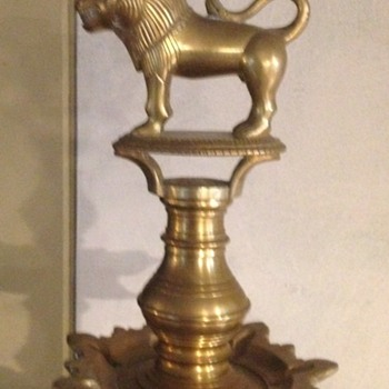 Antique Brass Oil Lamp