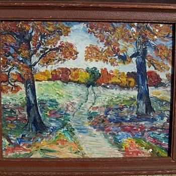 Impressionist Fall Landscape  - Folk Art