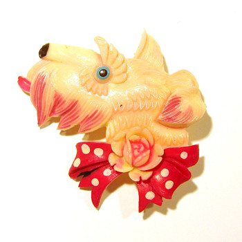 Vintage Celluloid Scottie Dog Pin - Occupied Japan