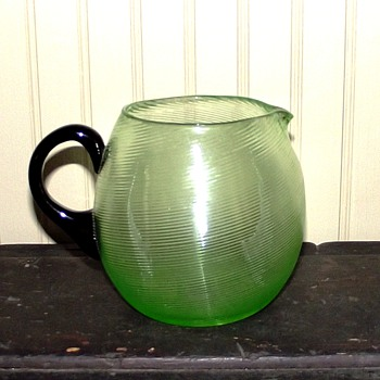 Czech-Export Uranium Squat Pitcher - Art Glass