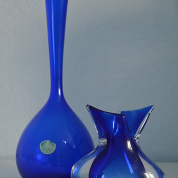 Two cobalt blue glass vases - Art Glass