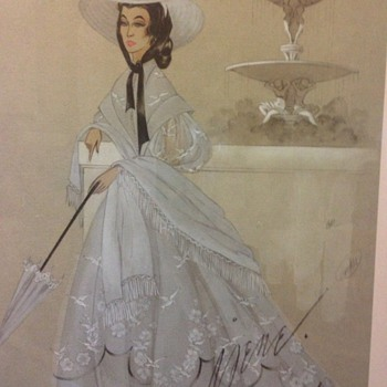 Ava Gardner Film Costume Designer's Original Sketch by Virginia Fisher - Movies