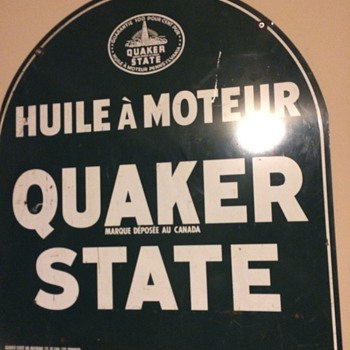 Quaker State 2 language tombstone sign - Signs