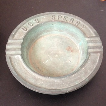 Original WW2 Brass Ashtray From the USS SPERRY - Military and Wartime