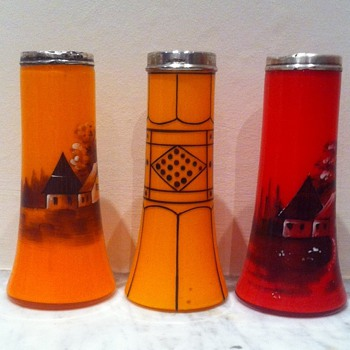3 Art Deco tango glass vases with enamels and silver rims