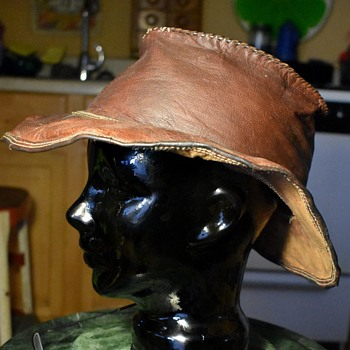Leather Wide Brimmed Hat - Hats