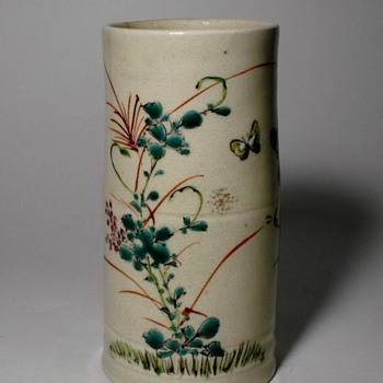 19th Century Japanese Enameled Earthenware Brush Pot