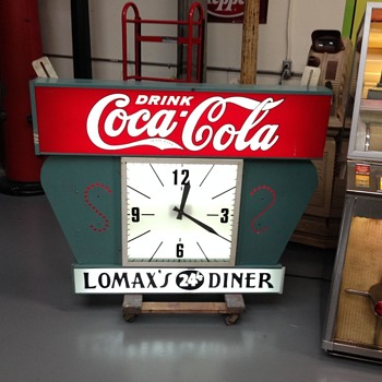 Large Lighted Coca Cola Sign with Clock