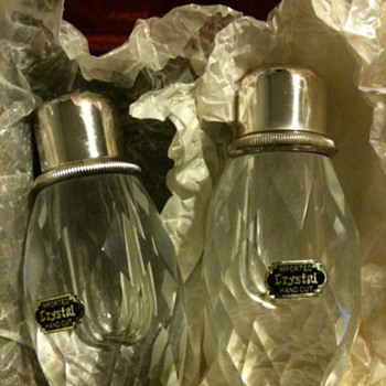 Imported Hand cut Crystal Salt & Pepper Shakers - Glassware