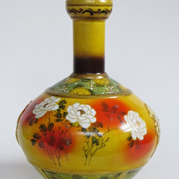 Japanese or Chinese Pottery Vase w/Handpainted Floral Design & Enamel Ornament