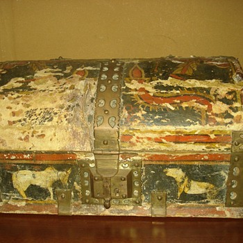 Antique Painted Leather Covered Jewelry Trunk - Fine Jewelry