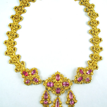 Georgian Pink Topaz Repoussé Necklace