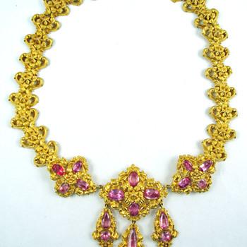 Georgian Pink Topaz Repoussé Necklace - Fine Jewelry