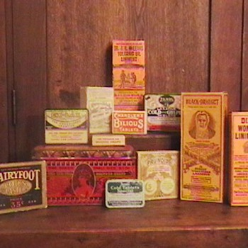 Vintage Laxative, Liniment, and Pill Tins and Boxes