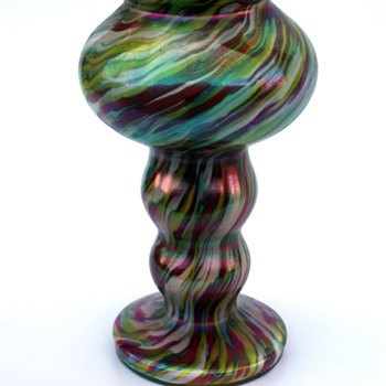Welz iridescent swirl /marbled vase - Art Glass