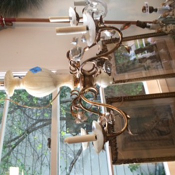 French Antique Alabaster and Porcelain Chandelier - Lamps