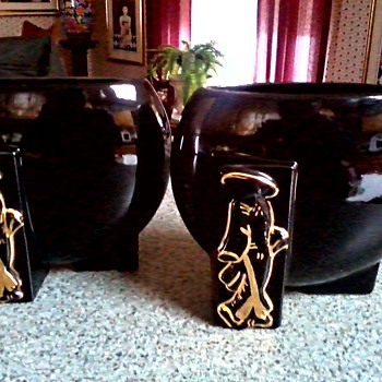 "Joan Lea Creations""Shanghai"" Vases/Fredericksburg Art Pottery Co. Ohio  ""FAPCO""/ 22kt Gold Asian Figures / Circa 1940's-50's"