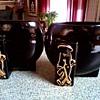 "Joan Lea Creations""Shanghai"" Vases/Fredericksburg Art Pottery Co. Ohio  ""FAPCO""/ 22kt Gold Asian Figures / Circa 1940's-50's"