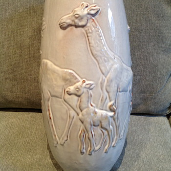 Mobach Utrecht Clay Glazed Giraffe Vase    - Pottery