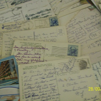 202 vintage postcards with postmarks and stamps from world wide to the usa