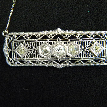 Antique Art Deco Old Mine Cut Diamond Filigree 18k Necklace For Valentino97
