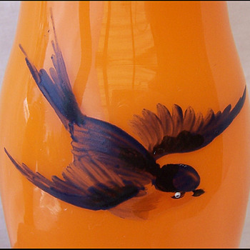 PAINTED BOHEMIAN GLASS - ORANGE - Art Glass