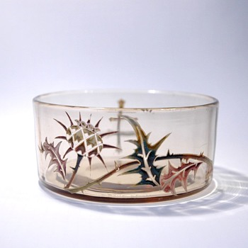 early EMILE GALLE  thistle enamel cup. circa 1884