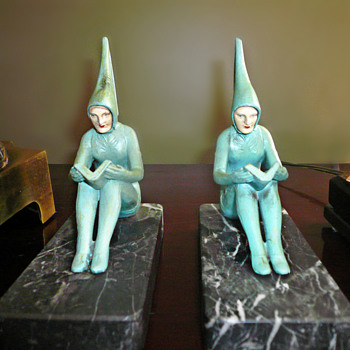 Pixie Bookends By Henri Fugere, C. 1927 - Art Deco