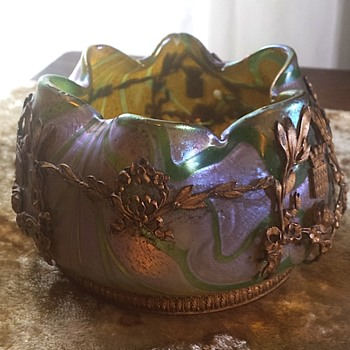 Bohemian iridescent metal mounted vase