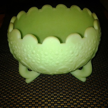 "FENTON "" Green candy dish?"
