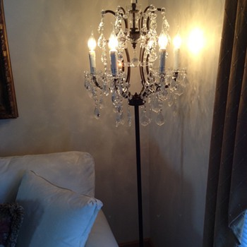 Crystal and wrought iron lamps