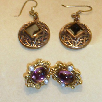 2 Pairs of interesting vintage earrings with the same mark on back? - Fine Jewelry