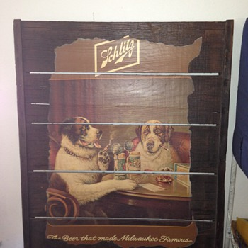 Schlitz Malt Liquor painting of two dogs drinking beer