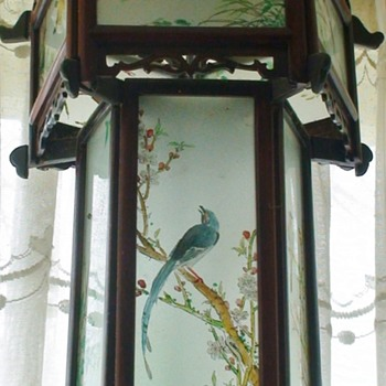 Vintage~Wood Hand Painted Glass Pagoda Chinese Lantern