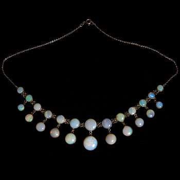 "An Edwardian White Opal and Silver ""Chandelier"" Necklace"