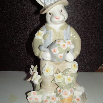 "11"" porcelain figures, ""Mr and Mrs.  Rabbit"""