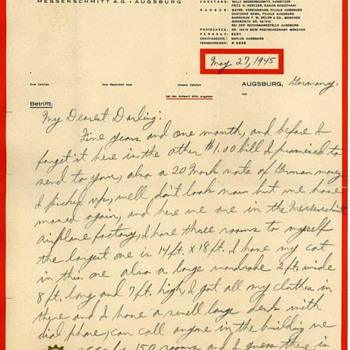 WW2 US Soldiers letter home on Messerschmitt Factory Letterhead - Military and Wartime