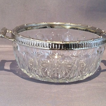 Vintage handled cut glass bowl