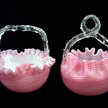Welz Candy Striped Matching Baskets Thorn Handles - Art Glass