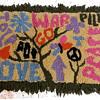 Folk Art: Early 1970s VERY HIPPIE Punch Hole Latch Hook Rug