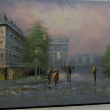 OIL PAINTING CITY SCENE - Visual Art