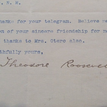 Theodore Roosevelt signed letter