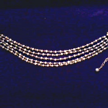 """Coro"" Five Strand Faux Pearl Choker/ Circa 20th Century - Costume Jewelry"