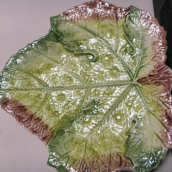 Unknown mark on large maple (I think) Leaf Dish Porcelain  - Pottery
