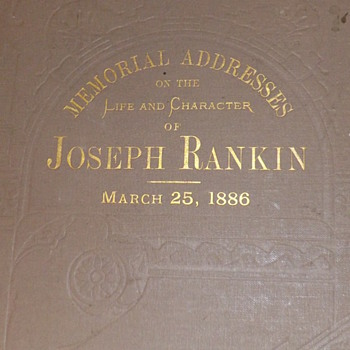Joseph Rankin Book of Eulogies 1886 - Books